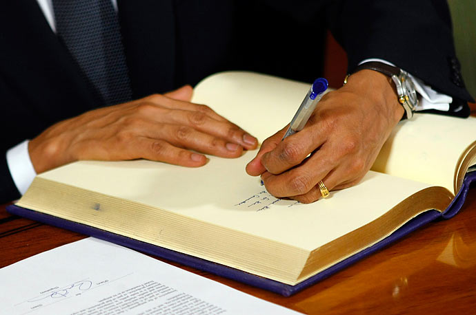 Nobel Peace Prize laureate President Obama participates in the Nobel Peace Prize Signing Ceremony at Oslo City Hall.
