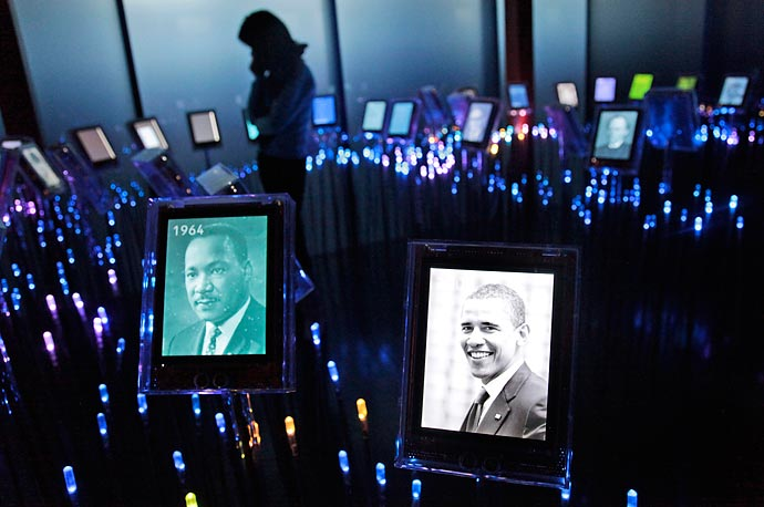 A photo of 2009 Nobel Peace laureate Barack Obama, is displayed alongside the 1964 peace laureate Martin Luther King, among others, in the Nobel Field at the Nobel Peace Center in Oslo, Norway.  The President will accept the award on December 10.