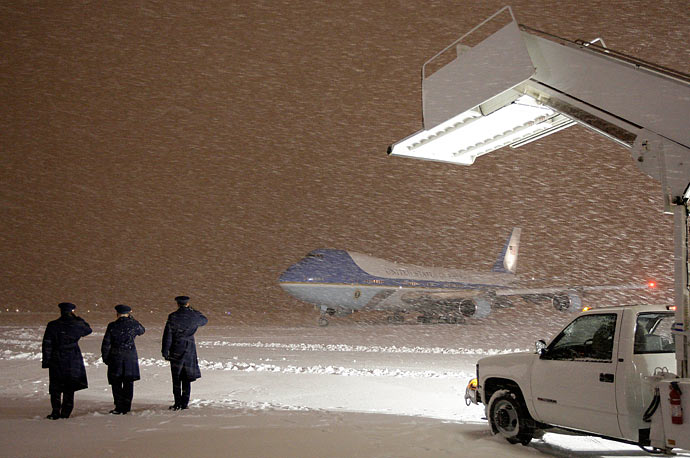 Air Force One, with President Obama aboard, arrives in the snow at Andrews Air Force Base in Maryland.