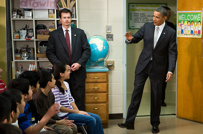 President Obama visits sixth grade students at the Graham Road Elementary School in Falls Church, Virginia. Following his meeting with