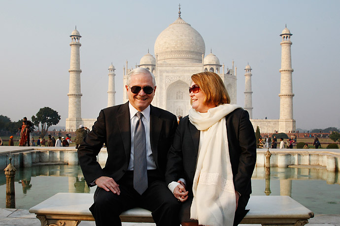 U.S. Defense Secretary Robert Gates, left, and his wife Becky Gates pose for a photograph in front of the Taj Mahal in Agra, India.