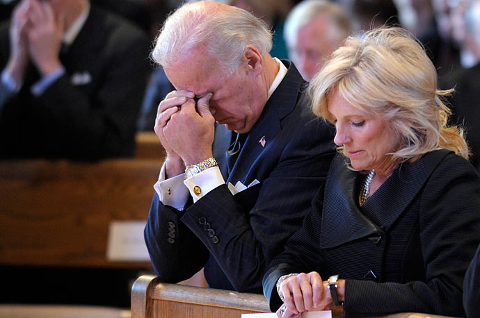 Vice President Joe Biden and his wife Jill Biden attend the funeral Mass for his mother, Jean Biden, Tuesday, Jan. 12, 2010, at the Immaculate Heart of Mary Catholic Church in