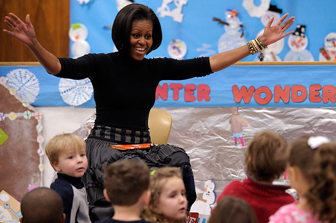 First lady Michelle Obama talks to group of children at the Labor Department childcare center in Washington, Thursday, Jan.  14, 2010.