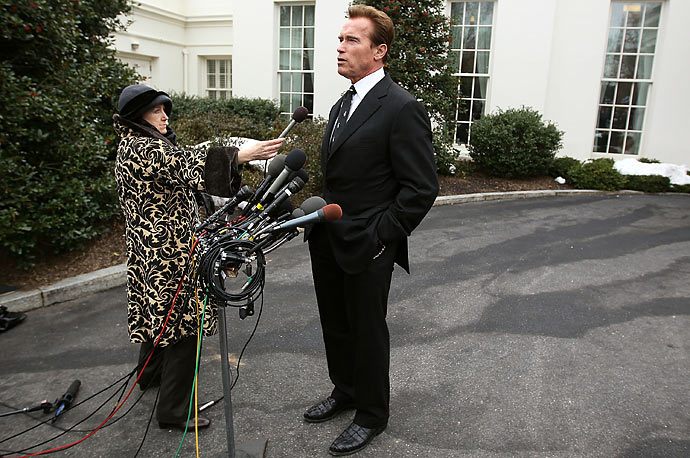 California Governor Arnold Schwarzenegger speaks to reporters after meeting with President Barack Obama at the White House. The