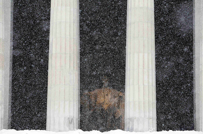 The Lincoln Memorial sits shrouded in snow in Washington, D.C.