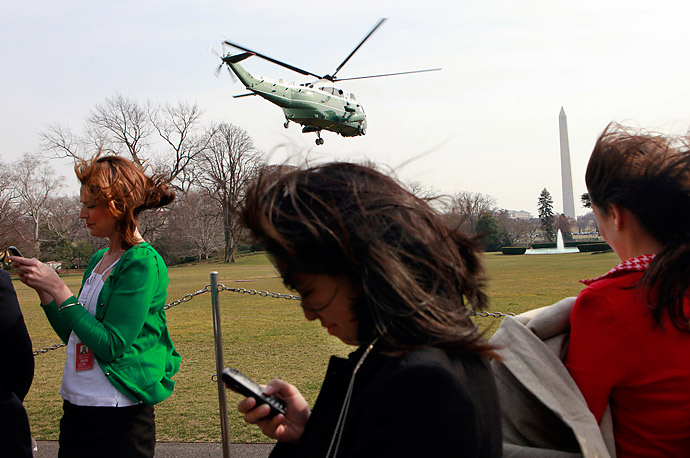 Marine One, with President Obama aboard leaves from the south lawn of the White House.