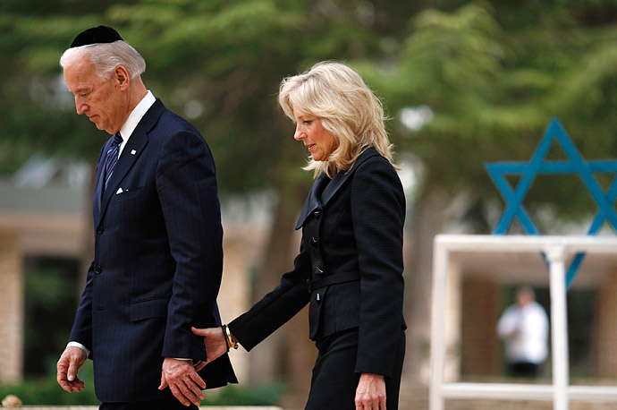 Vice President Joe Biden and his wife, Jill, walk together at the Mount Herzl military cemetery in Jerusalem, Israel.
