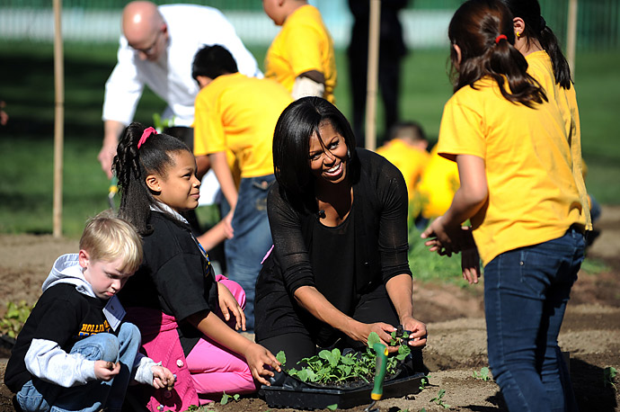 First Lady Michelle Obama holds a spring garden planting event with students from Bancroft and Hollin Meadows Elementary Schools on the South Grounds of the White House.