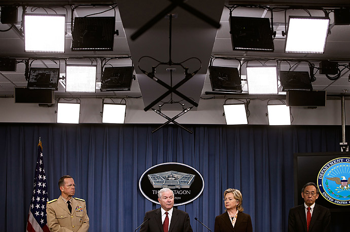 From left: Chairman of the Joint Chiefs of Staff Navy Admiral Mike Mullen, Defense Secretary Robert Gates, Secretary of State Hillary Clinton and Energy Secretary Steven Chu hold a press conference about the new Nuclear Posture Review at the Pentagon.