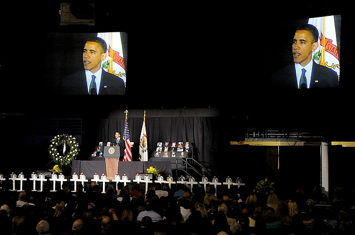 President Barack Obama gives the eulogy at a memorial service for the fallen miners from Upper Big Branch Mine held at the Beckley-Raleigh County Convention Center on Sunday.