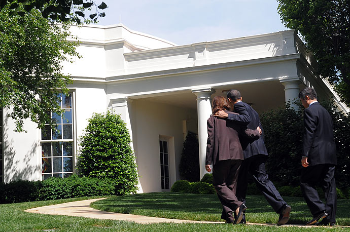 President Barack Obama walks with Labor Secretary Hilda Solis aftger speaking on monthly jobs numbers on the South Driveway at the White House. Obama said new figures showing the US economy
