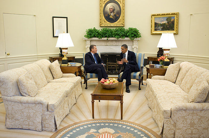 BP Chairman Carl-Henric Svanberg meets with President Obama in the Oval Office.