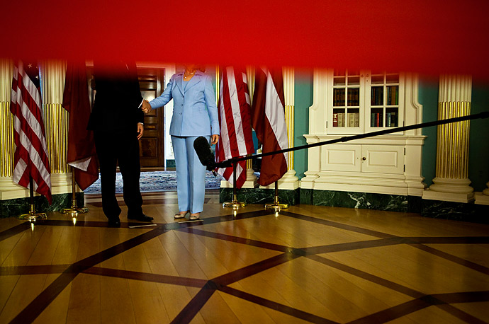 Secretary of State Hillary Rodham Clinton and Latvia's Prime Minister Valdis Dombrovskis speak with the media after a bilateral meeting at the State Department in Washington, Tuesday, June 15,