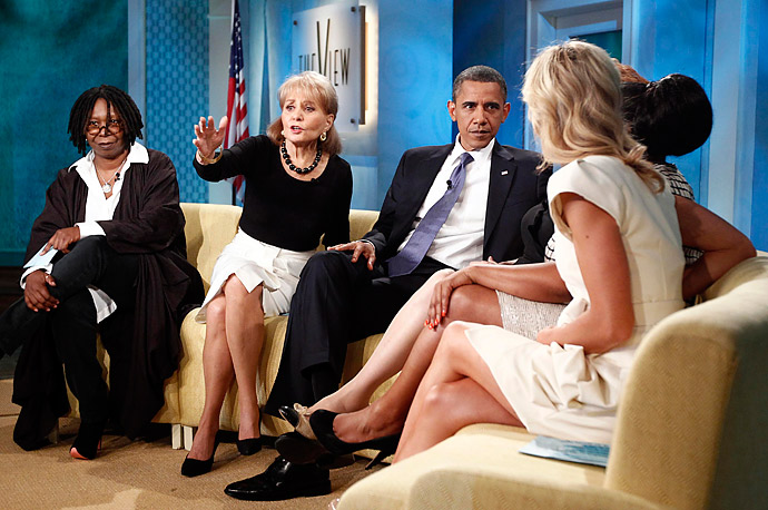 President Obama appears on the daytime TV talk show The View hosted by Whoopi Goldberg, Barbara Walters, Joy Behar, Sherri Shepherd and Elisabeth Hasselbeck.