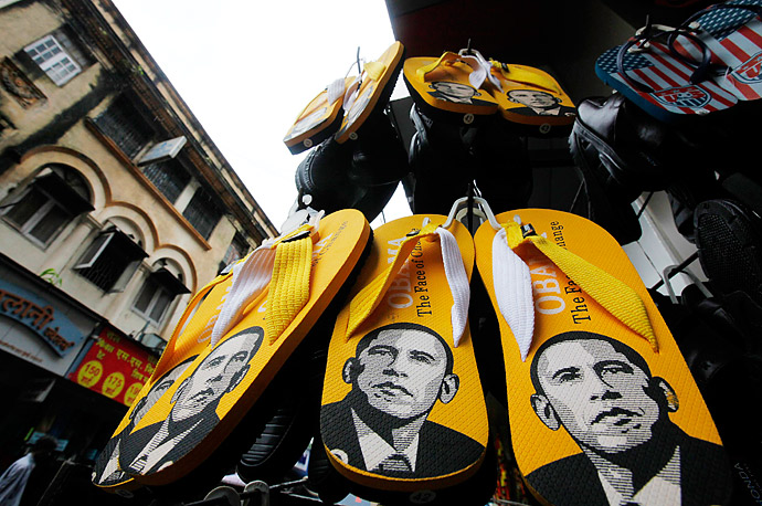 Slippers bearing the image of President Barack Obama are displayed in a shoe shop in Mumbai, India.
