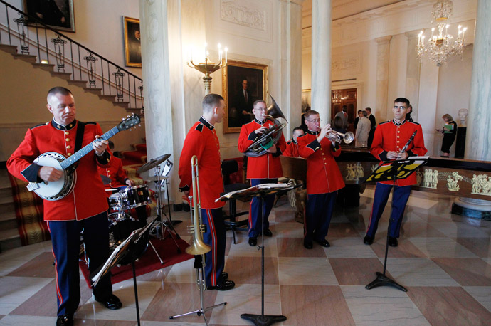 The President's Marine Band plays jazz music in the Grand Foyer of the White House in Washington D.C. as President Barack Obama honored the 2009 NFL Super Bowl Football Champions, the New Orleans Saints, in the East Room.