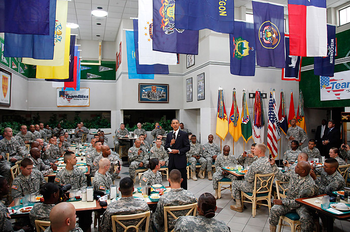 U.S. President Barack Obama thanks U.S. Army troops at Fort Bliss, Texas for their service. He will address the nation from the Oval Office later in the day about the combat troop withdrawal from Iraq.