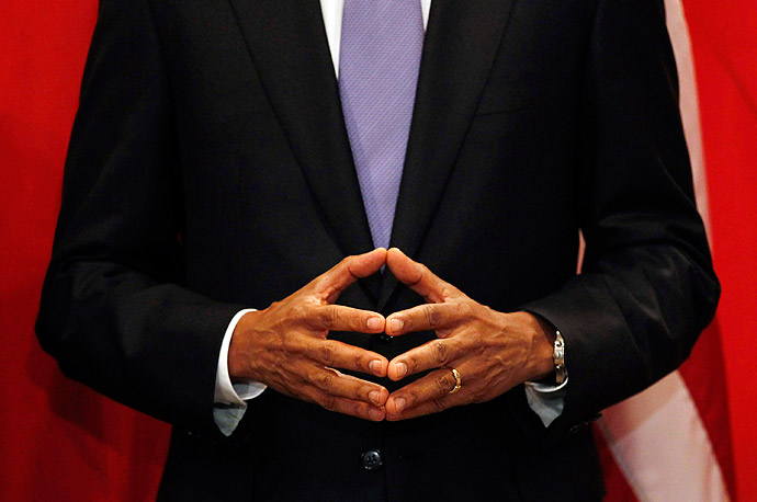 President Obama places his fingertips together during a meeting with China's Premier, Wen Jiabao, at the United Nations in New York City.