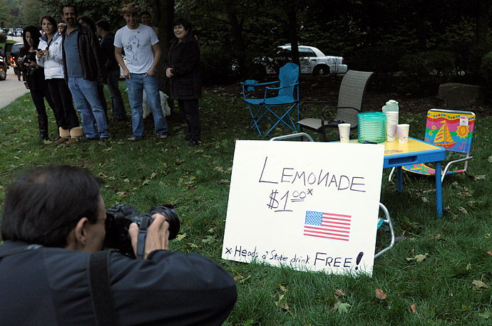 Enterprising residents of Cresskill, N.J. set up this lemonade stand near the house where President Barack Obama attended a fundraiser in their town.