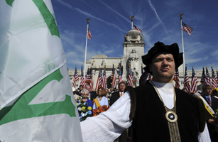 Jack Heretik of the Knights of Columbus portrays the 15th century Italian explorer Christopher Columbus during a Columbus Day event in Washington, D.C., on Oct. 11, 2010