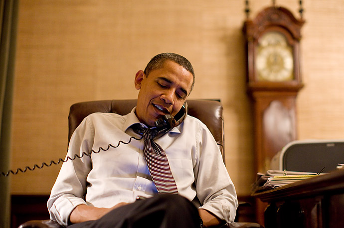 President Barack Obama makes an election night phone call to Rep. John Boehner from his Treaty Room office at the White House.