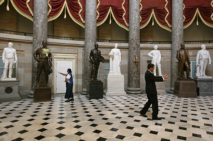 Newly elected Congressman Sean Duffy, a Republican from Rhode Island, narrates and records a video for his Facebook page while walking around Statuary Hall inside the U.S. Capitol Hill.