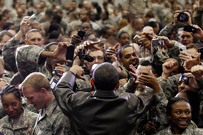 U.S. President Barack Obama meets with troops at Bagram Air Base, December 3, 2010.