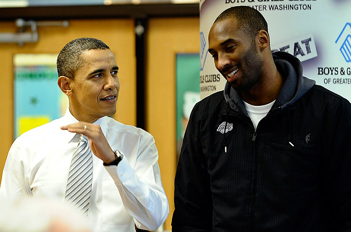 President Obama chats with Kobe Bryant of the Los Angeles Lakers at an event organized at a Boys and Girls Club in Washington.