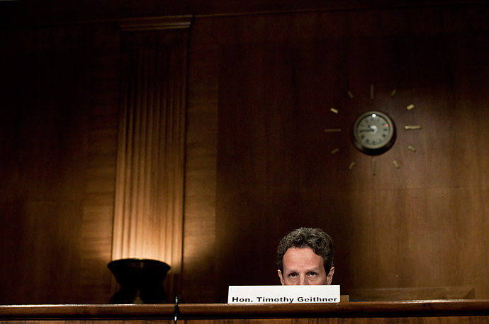 Secretary of the Treasury Timothy F. Geithner speaks during a hearing of the Congressional Oversight Panel on Capitol Hill December 16, 2010 in Washington, DC.