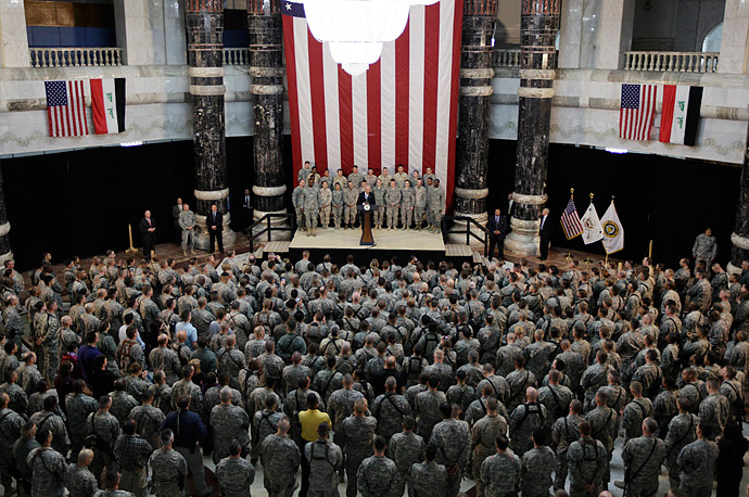 Vice President Biden addresses U.S. military personnel at Camp Victory on January 13.