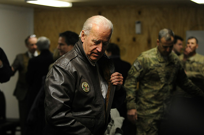 Vice President Joe Biden arrives to meet with the Governor of Wardak Province, Afghanistan.
