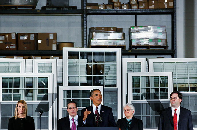President Obama introduces new members of the White House staff at Thompson Creek Manufacturing in Landover MD.