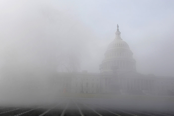 Steam rises through a grate infront of the the U.S. Capitol building where President Obama will make his state of the Union address on Tuesday.