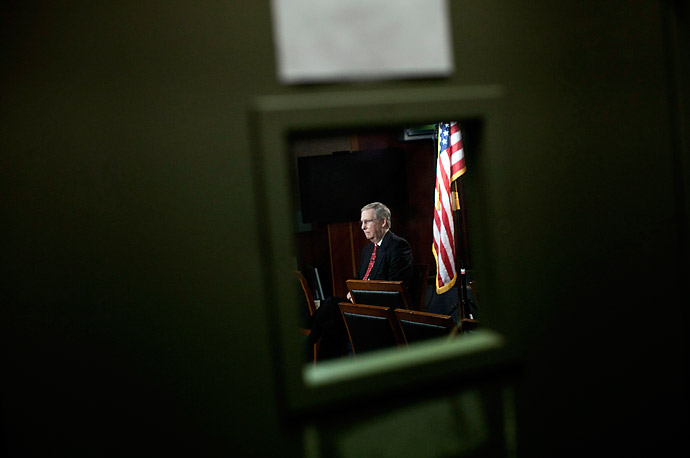 Senator Mitch McConnell sits in the Senate Radio and TV Studio before an interview.