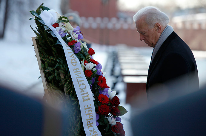 Vice President Joe Biden visits the Tomb of the Unknown Soldier during a wreath-laying ceremony in Moscow, Russia.