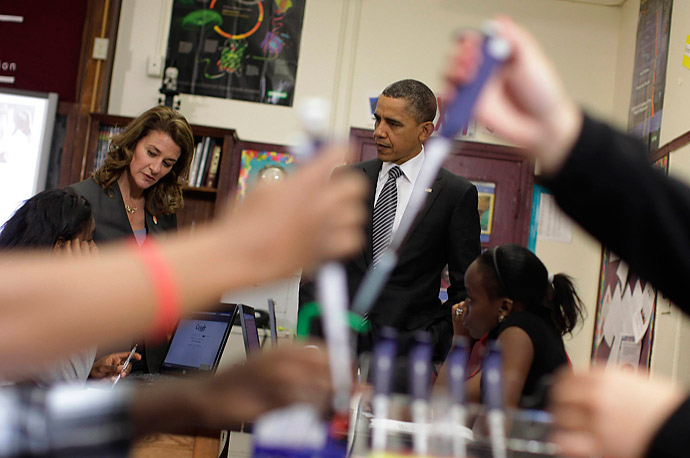 President Obama and Melinda Gates visit a classroom at TechBoston Academy in Massachusetts.
