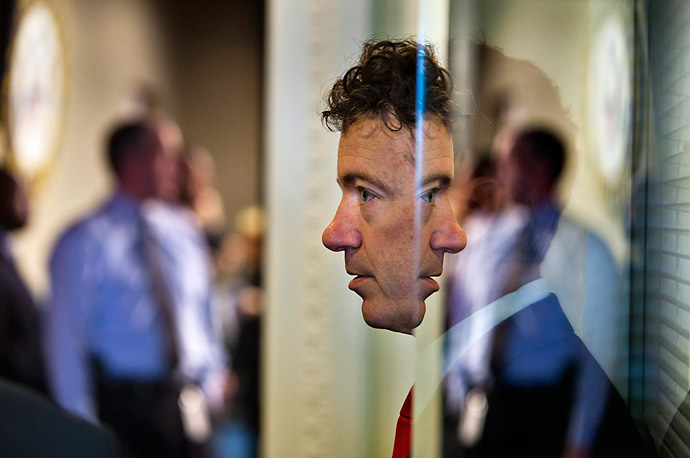 U.S. Senator Rand Paul arrives to speak about the Social Security Reform plan at the Capitol in Washington, D.C. on April 13, 2011. When asked whether he plans to filibuster the budget measurement, he replied