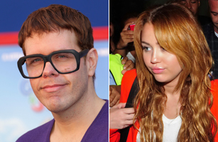 Perez Hilton, left and Miley Cyrus, right.