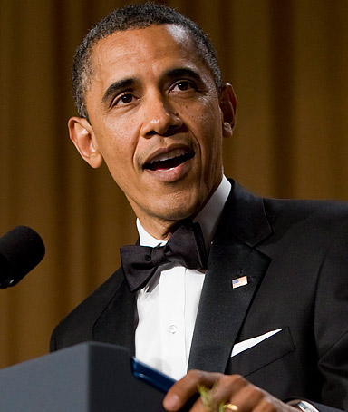 President Barack Obama delivers remarks at the 2012 White House Correspondents Association Dinner held at a hotel in Washington, DC, USA, on 28 April 2012.