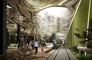 Channeling sunlight underground in a sizable underground space could create New York City's first underground park: a year-round oasis of trees, grass, and beautiful, inviting design features.