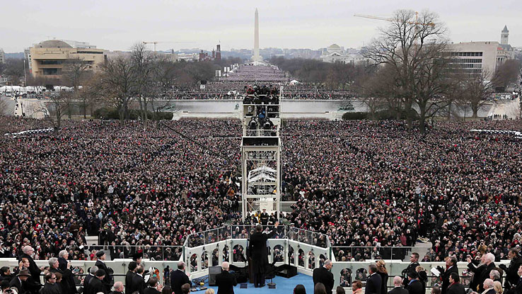 image: President Barack Obama gives his inauguration address during the public ceremonial inauguration on the West Front of the U.S. Capitol on Jan. 21, 2013 in Washington, DC.