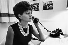 NBC&#39;s Barbara Walters takes a phone call at her desk in New York City, circa 1964.