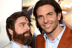 "From left: Ed Helms, Zach Galifianakis, and Bradley Cooper arrive at the premiere of Warner Bros. Pictures' ""Hangover Part 3"" in Westwood, Calif., on May 20, 2013."
