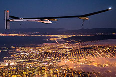 Solar Impulse&#39; s HB-SIA prototype flies over the San Francisco Bay, April 23, 2013.