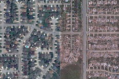 Moore, Okla., seen before and after an EF-5 tornado devastated the town.