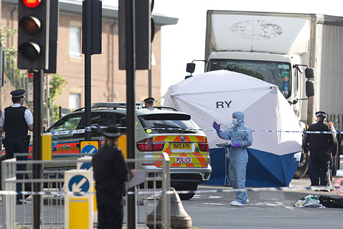 A tent is erected near the scene of an attack in Woolwich, southeast London, on Wednesday, May, 22, 2013.