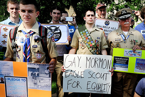 Scouts for Equality holds a rally to call for equality and inclusion for gays in the Boy Scouts of America at the Boy Scout Memorial May 22 2013 in Washington.