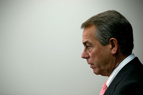 Speaker of the House John Boehner meets with members of the press to answer questions at the U.S. Capitol June 12, 2013 in Washington, DC.