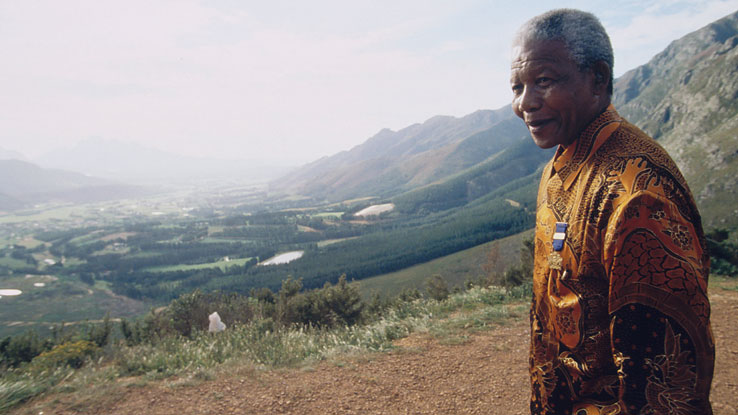 Nelson Mandela at Franschoek Pass in Western Cape Province, South Africa, on Oct. 1997.