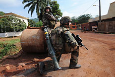 French soldiers patrol a street of Bangui, Central African Republic, Dec. 7, 2013.